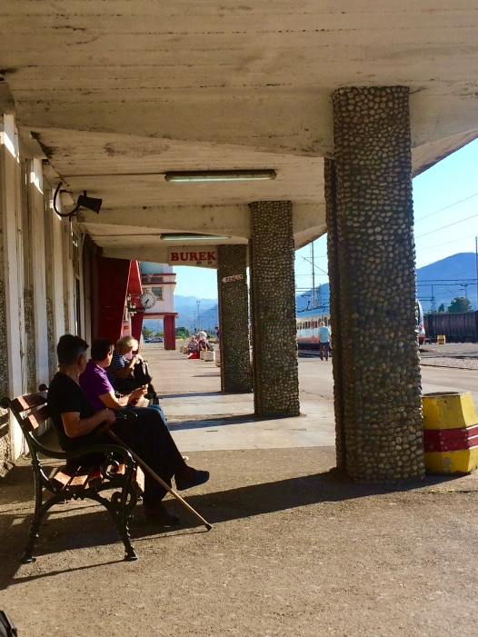 Outdoor waiting area for the train from Podgorica to Belgrade.