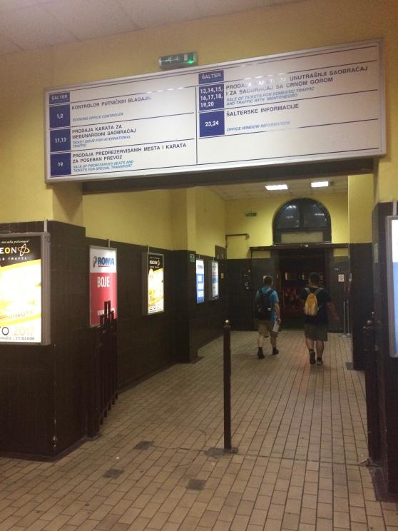 Inside Belgrade's train station at night.