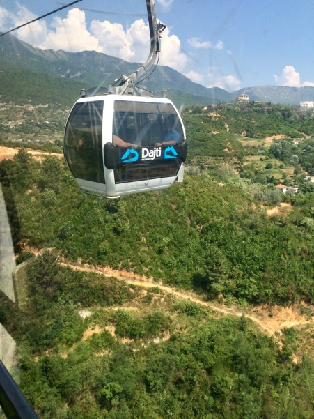 A gondola traversing the Dajti Express.