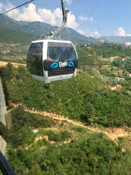 A gondola traversing the Dajti Express.