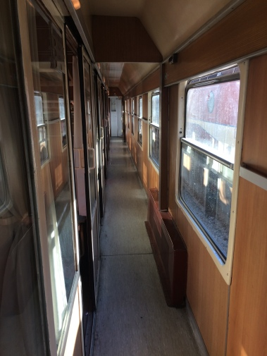 Second class corridor aboard the train from Podgorica to Belgrade.