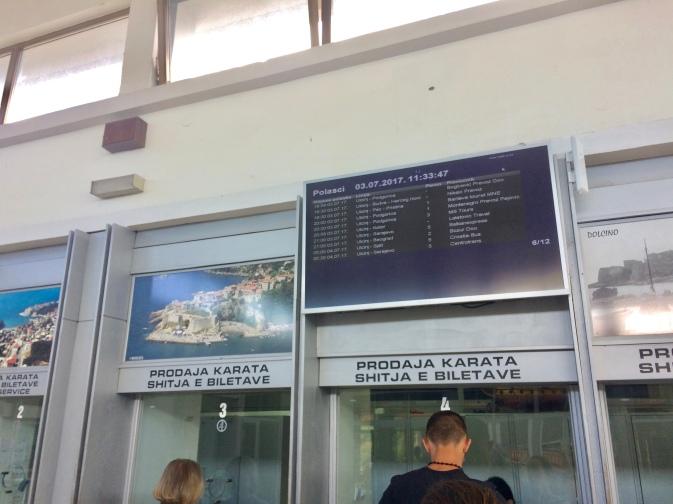 Ticket window at Ulcinj bus station.