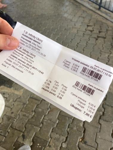 Ticket for bus journey from Ulcinj to Budva.