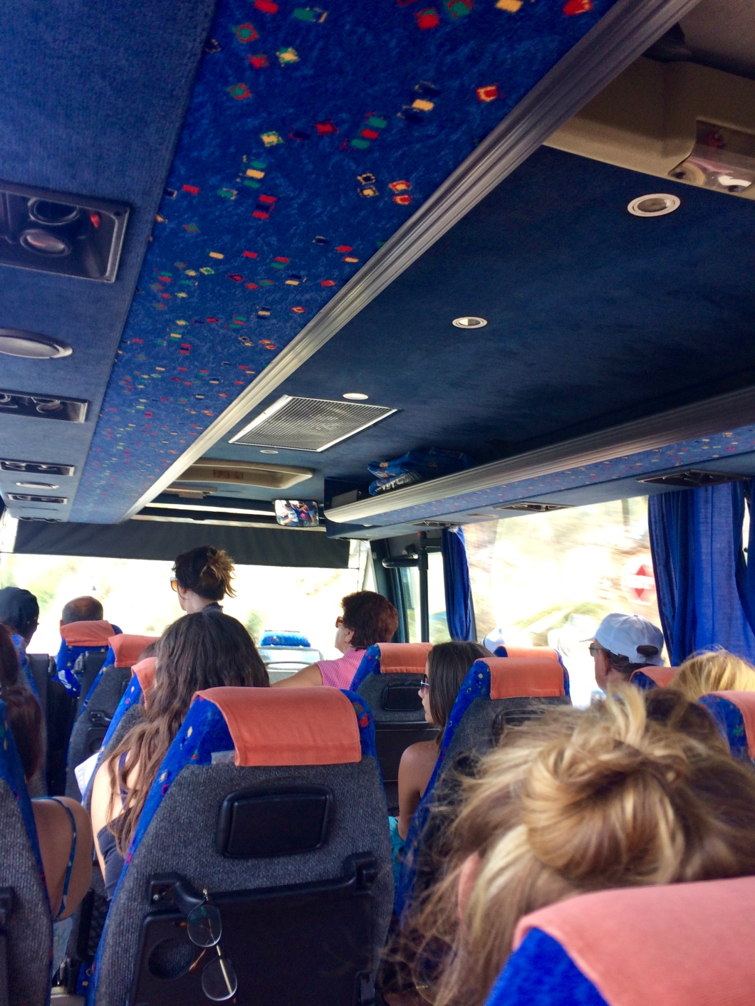 Inside an Alba Tours bus traveling from Ulcinj to Budva, Montengro.