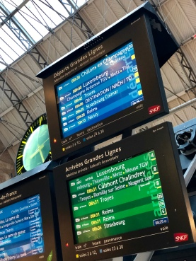 Timetables for trains departing the Gare de l'Est.