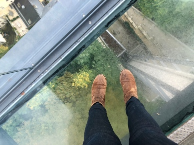 Glass floor of the Pfaffenthal lookout.