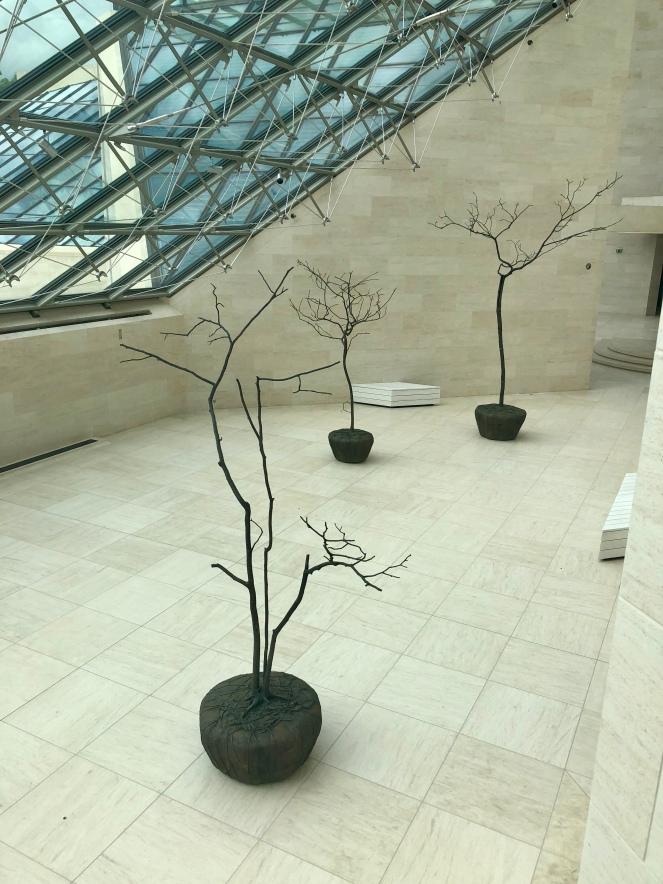 Exhibition hall in Mudam, featuring sculptures by Su-Mei Tse.