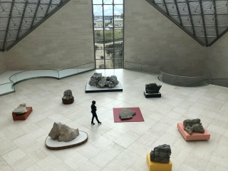 Exhibition hall in Mudam, featuring sculptures by Su-Mei Tse.