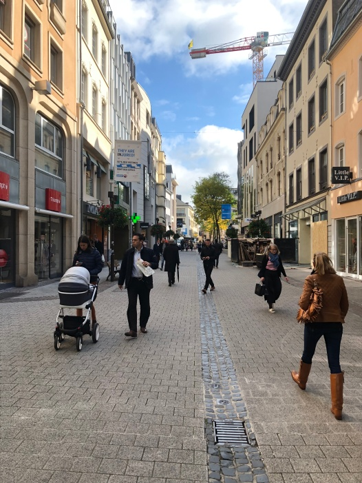Pedestrianized street in old Luxembourg City.